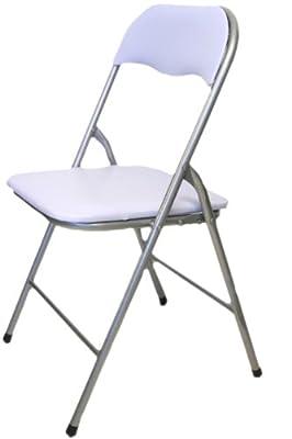 Stabiler Klappstuhl Besucherstuhl mit Rückenlehne Weiß platzsparend