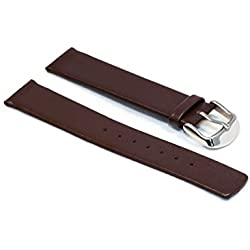 WatchAssassin Stylish Smooth Bauhaus Brown/Black Leather Watch Strap 18 20 22mm