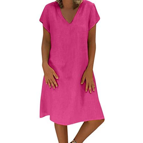 Go First Frauen Sommer Kleid Damen Plus Size Kleid T-Shirt Baumwolle und Leinen Kleid Casual Short Sleeve Midi Kleid (Color : Rot, Size : Large)