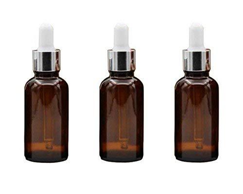 n mit Augentropfen aus Glas, 15 ml, leer, nachfüllbar, ätherisches Öl, Parfüm, Aromatherapie, Fläschchen mit weißem Ruuberverschluss und silberfarbenem Kreis, 3 Stück ()