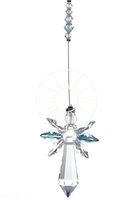 New Design Large Swarovski Hanging Crystal Birthstone Guardian Angel Suncatcher Rainbow Maker Ideal Christening/Birthday Gift AQUAMARINE - MARCH