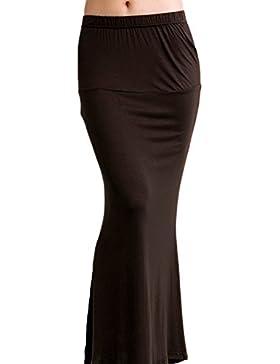 La Mujer Es Elegante Tobillo - Longitud Acanalada Elástica Elástico De Verano Falda Bodycon