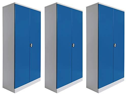 Stahlschrank-Set | 3 Aktenschränke | grau/blau - KOMPLETT MONTIERT - Komplett Aktenschränke Montiert