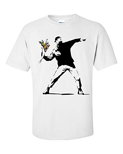 Not Just Nerds Herren Flower Thrower Banksy style T-Shirt M, weiß -