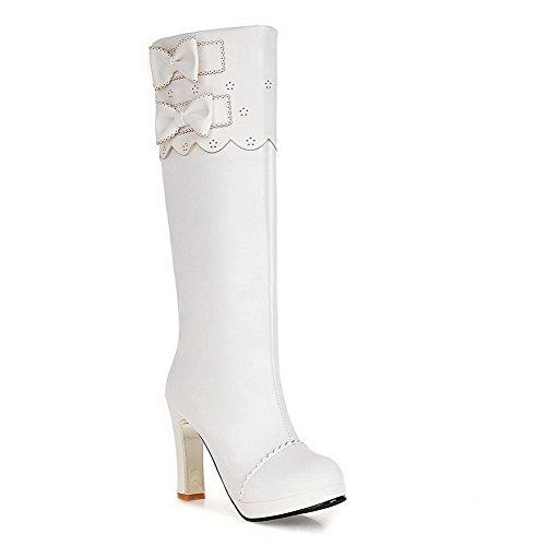 AgooLar Damen Knie Hohe Ziehen auf Blend-Materialien Hoher Absatz Rund Zehe Stiefel, Weiß, 35