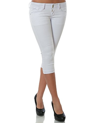 Damen Capri Jeanshose Kurze Sommerhose Push-Up Stretch DA 15547 Weiß 40 / L