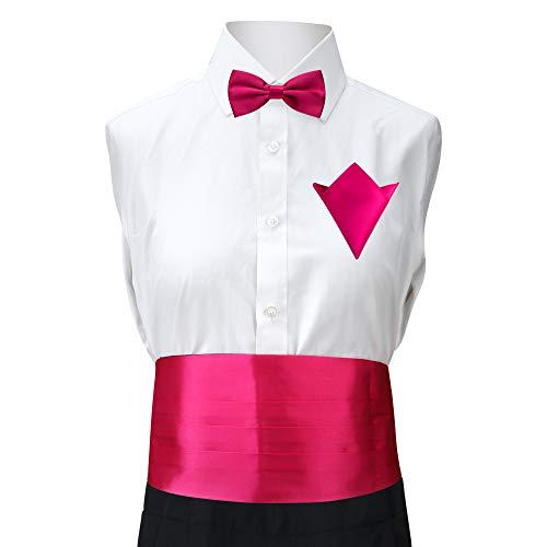 Rusty Bob - Kummerbund, Fliege und Einstecktuch | verschiedene Farben | 3er Set (Pink)