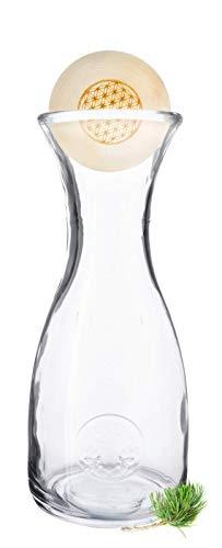 Gesundheitskissen.at Original ZirbenKugel mit PEFC-Zertifizierung Blume des Lebens   7cm-Verschluss aus zertifiziertem Zirbenholz inkl. Zirben-Wasserkaraffe Misura (1 Liter)
