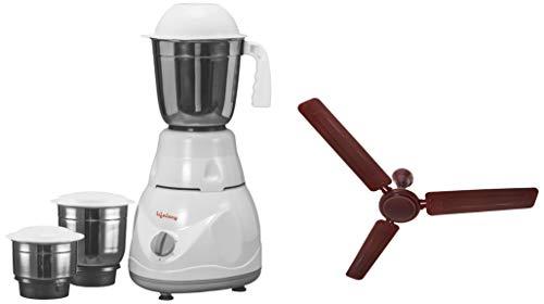 Lifelong Power Pro 500-Watt Mixer Grinder with 3 Jars (White/Grey) + LLCF07 High Speed Ceiling Fan 1200 mm (Brown)