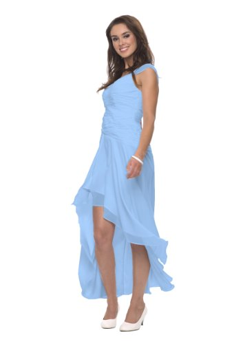 Astrapahl Damen Cocktail Kleid mit schönen Raffungen, Knielang, Einfarbig, Gr. 36, Blau (Hellblau)
