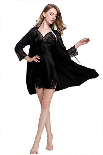 Faux Zwei Stück (YAFEIYA 2 Stück Faux Silk Frauen Robe Set, Hot Spring Sexy Lace Nachthemden Frauen Nachtwäsche Kleid Frau Pyjamas Bademantel,2,M)