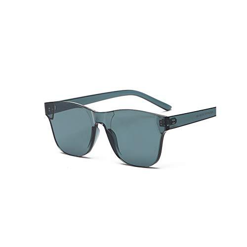 WJFDSGYG Klare Quadratische Randlose Sonnenbrille Frauen Transparente Farbe Sonnenbrille Weiblichen Visier Spiegel Klar