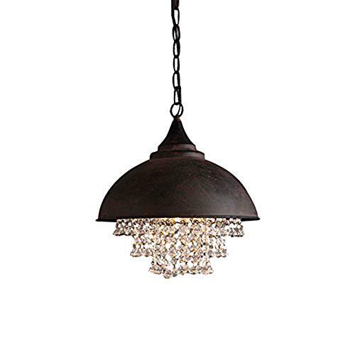 Pendelleuchte Vintage Schwarz Industrielle Schmiedeeisen Kristall Hängelampe Eisen Rund Lampenschirm LED Bulb Retro Deckenleuchte für Wohnzimmer Schlafzimmer Küche