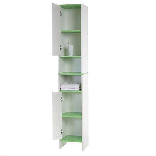 arredo bagno serie arezzo mobile alto 179x315x28cm legno bianco verde