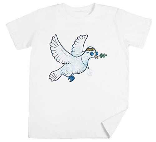 Das Hippie Taube Kinder Unisex Jungen Mädchen Weiß T-Shirt Kids Unisex T-Shirt