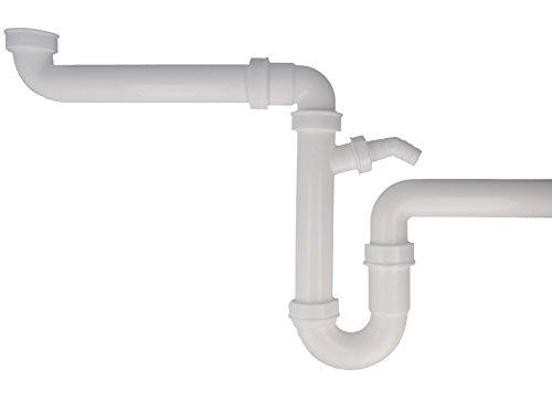 tecuro Raumsparer -Spülen Siphon Küchen Geruchsverschluß mit Wandrohr Ø 50 mm NEU