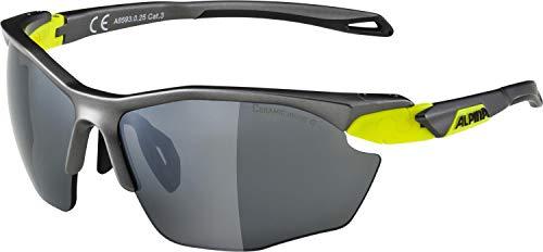 ALPINA Twist Five HR cm Outdoorsport-Brille, Tin Matt-Neon Yellow, One Size