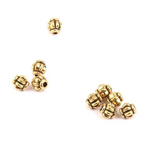 en forme de citrouille Perles Intercalaires Bijoux 4 mm Doré Lot d'environ 100 pièces.