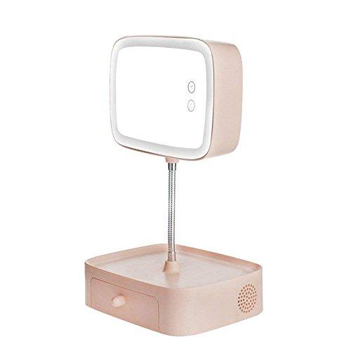 RBB Multifunktions-Stereo-Folding Bluetooth Make-up Spiegel Tischlampe; Nachttischlampe, europäischen Stil Schlafzimmer kann aufgeladen Werden, um Augenschutz zu Lernen LED Lampe Rosa,Mit Bluetooth Folding Stereo
