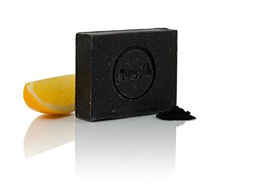Schwarze Öko Naturseife mit Aktivkohle und Bio Ziegenmilch Qualitätsprodukt von HappySkin, hilft gegen Pickel und Akne, tägliche...