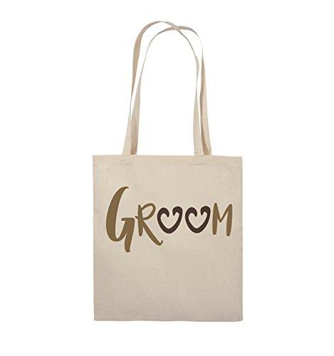 Comedy Bags - GROOM - HERZEN - Jutebeutel - lange Henkel - 38x42cm - Farbe: Schwarz / Weiss-Neongrün Natural / Hellbraun-Dunkelbraun