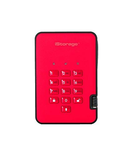 iStorage IS-DA2-256-SSD-128-R 128GB DiskAshur2 USB 3.1 Tragbar Verschlüsselte SSD-Laufwerk - Feuerrot