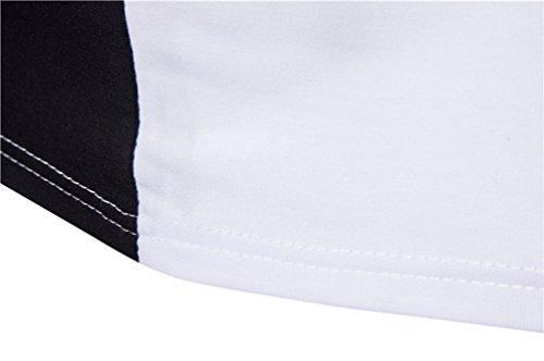 ZhiYuanAN Herren T-Shirt Mode Persönlichkeit Hip-Hop Stil Shirt Farbe Stitching Kurze Ärmel Rundhals Schlanke Passform Tee Tops Weiß Schwarz