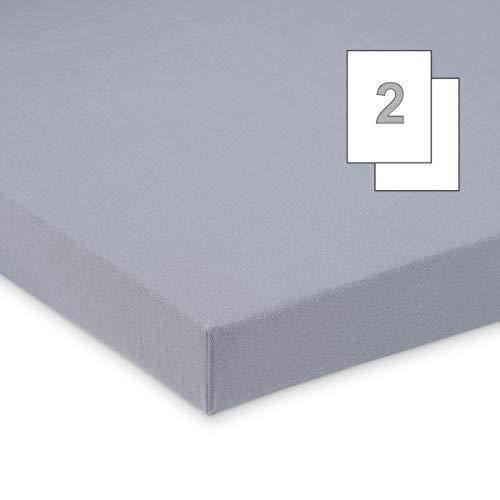 Doppelpack FabiMax 3675 Jersey Spannbettlaken für 6-eck Laufgitter, grau