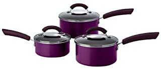 This Morning by Prestige Non-Stick Aluminium 3-Piece Saucepan Set, 16/18/20 cm, Purple (B0041IZGL0) | Amazon price tracker / tracking, Amazon price history charts, Amazon price watches, Amazon price drop alerts