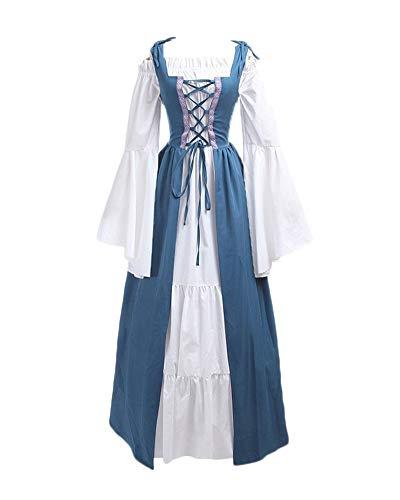 DianShaoA Damen Mittelalter Kleider Viktorianischen Königin Kleid Cosplay Kostüm Langarm Kleid-Gothic Jahrgang Prinzessin Renaissance Bodenlänge Hellblau L (Kleid Halloween-themed Hochzeit)