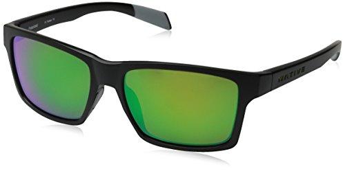 Native Eyewear Flatirons Polarized Sunglasses, Asphalt Frame, Green Reflex Lens