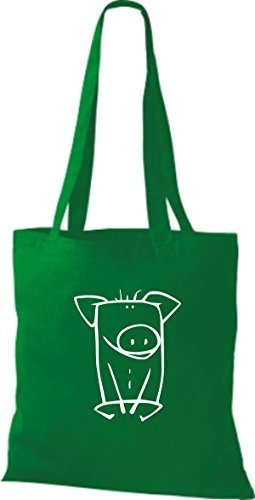 ShirtInStyle Stoffbeutel Baumwolltasche Lustige Tiere Schwein Farbe Pink kelly