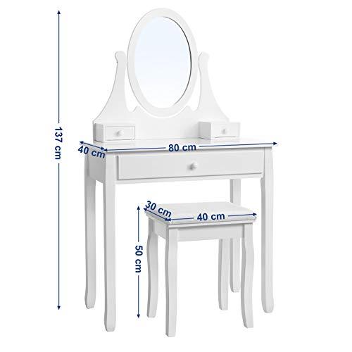 Songmics® Schminktisch Frisierkommode Frisiertisch Kosmetiktisch mit Spiegel inkl. Hocker, weiß, Holz, RDT002 - 6