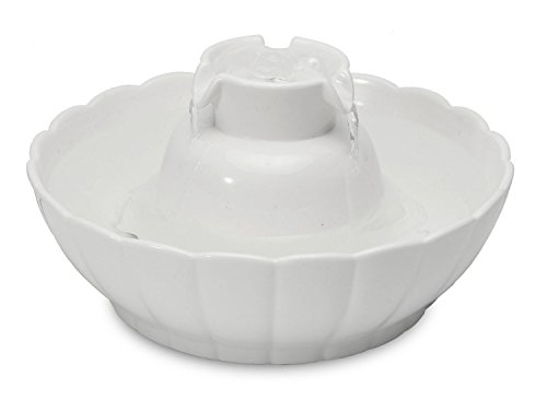 PETGARD Trinkbrunnen aus Keramik Lotus Aura Weiss 2,1 Liter