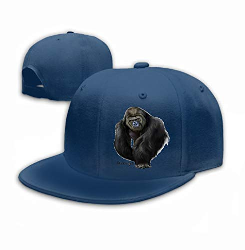 zexuandiy Unisex Cotton Sandwich Peaked Cap Adjustable Baseball Hats Gorilla Watercolor Painting Male Silver Lovely Navy
