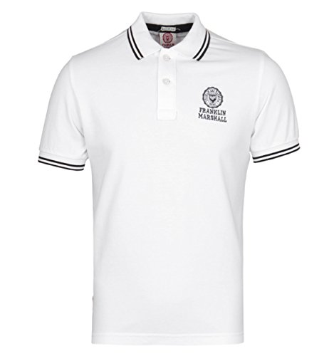 Franklin-Marshall-Classic-White-Short-Sleeved-Pique-Polo-Shirt-LARGE