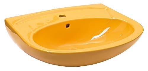 Calmwaters - Universal - 60 cm großes Waschbecken in Curry-Gelb aus Keramik mit Überlauf zur Wandmontage - 05AB2244 (Waschbecken Gelb)