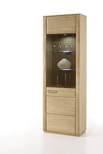 Dreams4Home Wohnkombination 'Yascha II' 4-teilig, Eiche Bianco massiv, optional mit Beleuchtung, Schrank, TV-Schrank, TV Element, Wohnwand, Wohnelement, Wohnzimmer, Regalwand, Highboard, Vitrine, Beleuchtung:mit LED Beleuchtung - 3