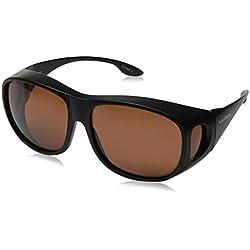 """Solarshield ATADURA """"fits-over (gafas) o uso solo gafas de sol con marco negro y lente de cobre (mejor para conducción) con suave caso."""