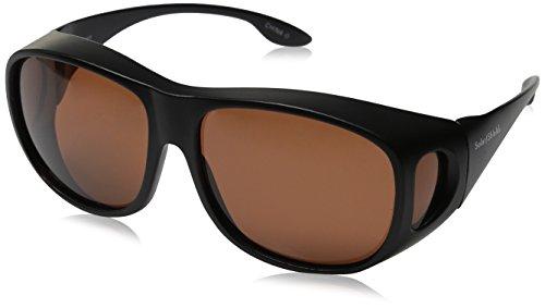 Solarshield Sonnenbrille mit schwarzem Rahmen, kupferfarbene Gläser, kann über der Brille getragen werden, mit weichem Etui