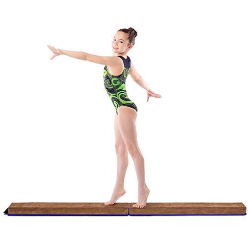 COSTWAY Poutre Gymnastique Pliable, Poutre D'équilibre en Mousse avec Faux Cuir pour Enfant Adulte 240 cm