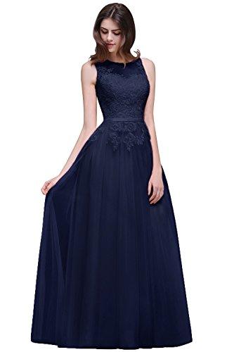 Damen Elegant Ärmellos Tüll Ballkleid Abikleider mit feiner Blumenstickerei lang Rückenfrei, Navy Blau, Gr. 36 (Linie Lange Ärmel Feine)