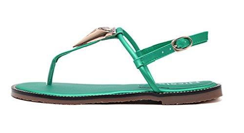 Aisun Damen Modern Metall T-Spange Flache Zehentrenner Sandale Mit Schnalle Grün