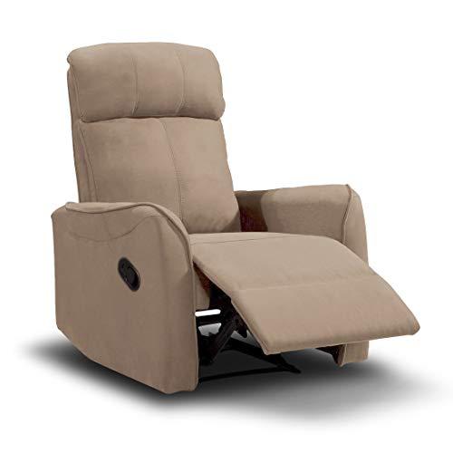SuenosZzz Sillón Relax Repaldo y Reposapiés reclinables Charles. Tapizado Tela Jade Beige.