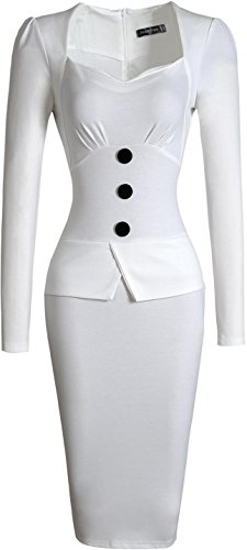 Jeansian Femme Sexy Parti Cocktail Temperament Fashion Casual Slim Travailler Crayon Robes WKD217 white