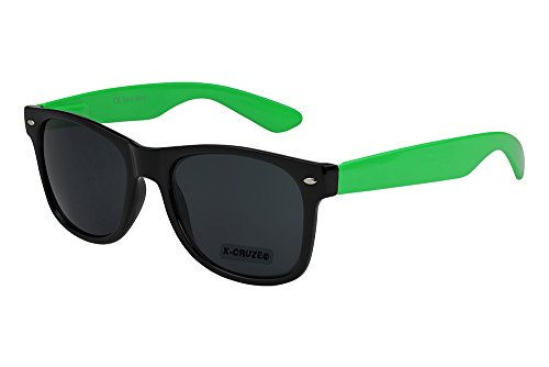 X-CRUZE® 8-087 X0 Nerd Sonnenbrille Retro Vintage Design Style Stil Unisex Herren Damen Männer Frauen Brille Nerdbrille - schwarz/hellgrün