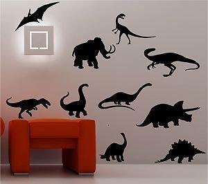 Online Design - 10 Pegatinas de Vinilo con Forma de Siluetas de Dinosaurios para Decoración de Habitación de Niños - Azul