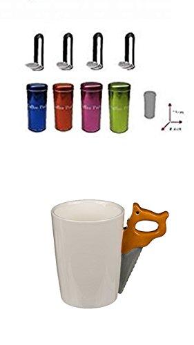 Origineller Keramik-Becher Kaffeetasse Handwerker Tasse mit Werkzeug-Griff Säge + 4 Pad Dosen...