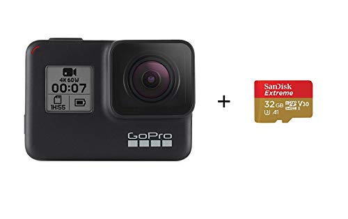 GoPro HERO7 Schwarz mit der SanDisk 32G-Speicherkarte Wasserdichte Digitale Actionkamera mit Touchscreen, 4K-HD-Videos, 12-MP-Fotos, Livestreaming, Stabilisierung