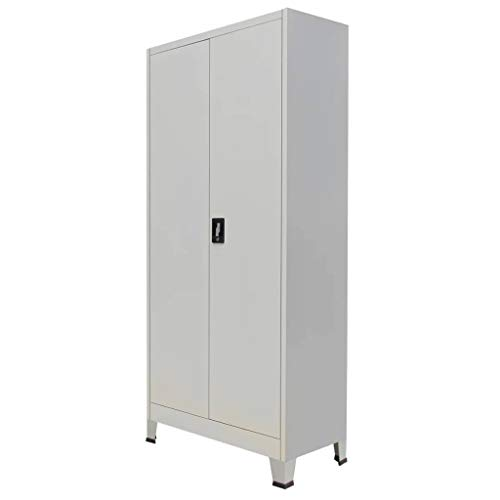 Vidaxl armadio da ufficio a 2 ante acciaio 90x40x180cm grigio schedario mobile